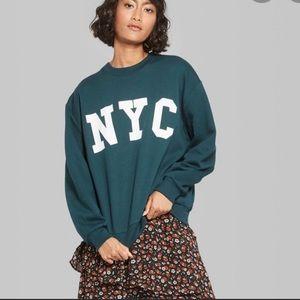 EUC Wild Fable green NYC crew neck sweatshirt XS